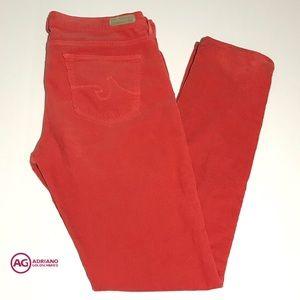 ADRIANO GOLDSCHMIED Dark Coral Slim Straight Jeans